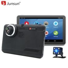 "Junsun 7 ""Cámara del coche DVR de Navegación GPS Android full hd 1080 p dash video Recorder dvr de Doble Lente con la cámara de visión Trasera cam"