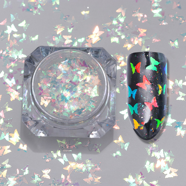 LILYCUTE 1Box 2g Nail Flakies Glitter Sequins Colorful Butterfly  Nail Art Decoration Manicure Shining Nail Powder