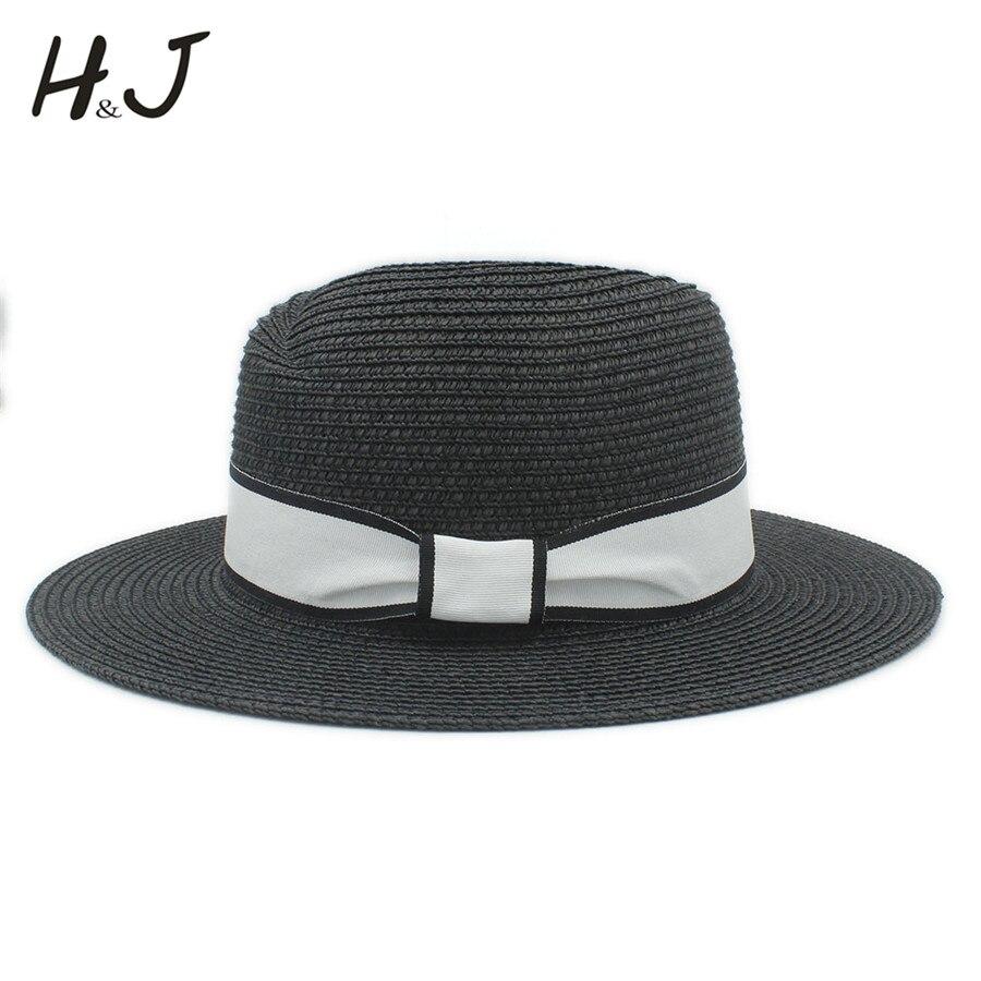 Fashion Summer Women Men Toquilla Straw Sun Hat For  Gentleman Wide Brim Panama Hat Elegant Lady Fedora Cap sunbonnet Beach Hats