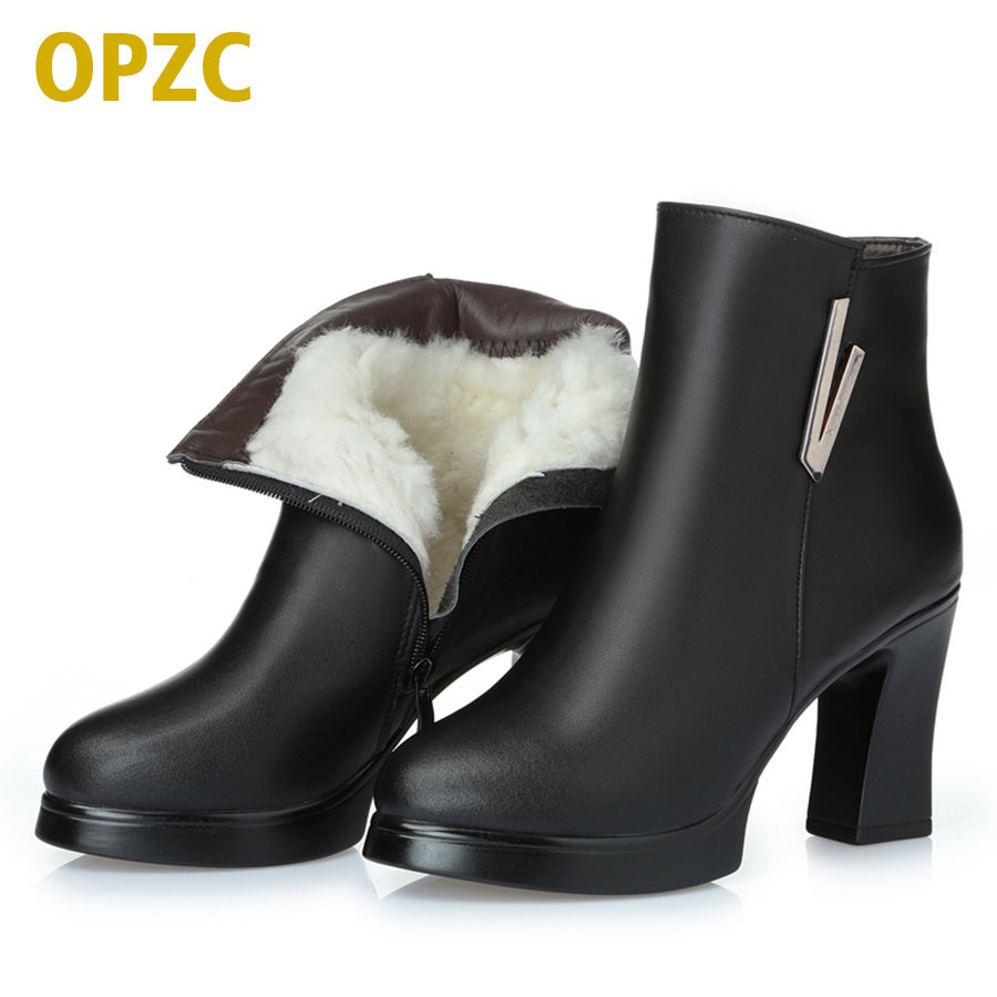 2018 new woman ankle boots ladies genuine leather snow boots high-heeled fashion 34# red boots really winter Ding Shoes 2017 new women s genuine leather boots motorcycle boots rough with in tube high heeled boots thick wool really pima ding