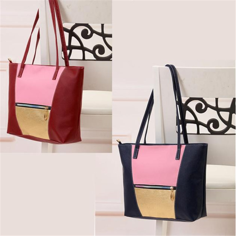 2b9990478661 2017 Most Popular New Simple Fashion Handbags Large Women Bags Solid PU  Leather Shoulder Tote Bags High Quality Wholesale A8-in Top-Handle Bags  from Luggage ...