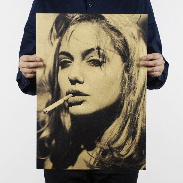 أنجلينا جولي/هوليوود الممثل السينمائي نجم/ورق الكرافت/مقهى/بار المشارك/ريترو ملصق/الديكور اللوحة 51x35.5 سنتيمتر