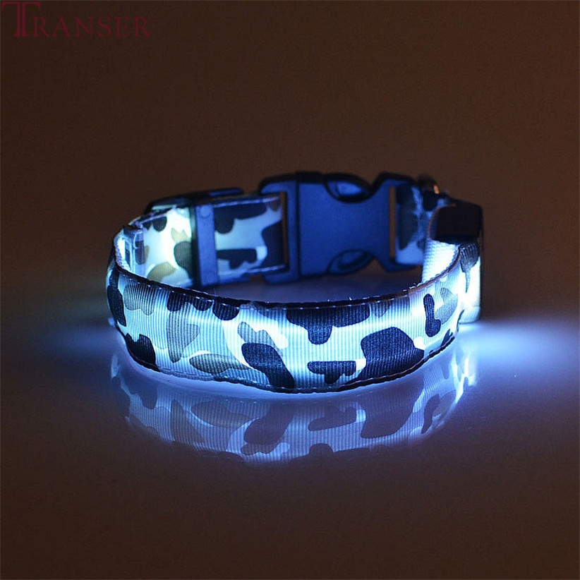 Transer Pet Dog Supplies Anti-lost Camouflage Led Light Dog Collar For Small Large Medium Dogs 80124