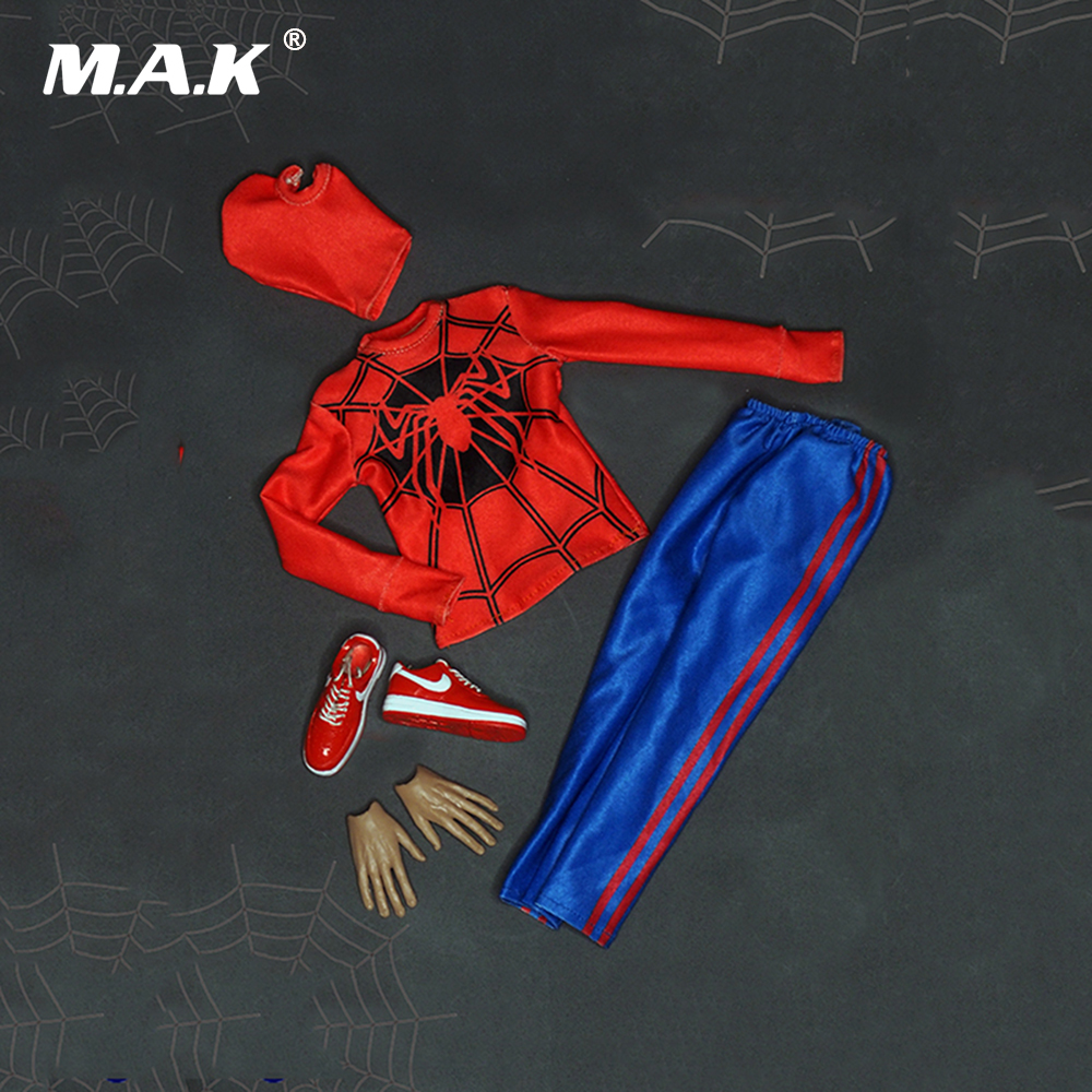 1/6 Scale Classic Spiderman Combat Male Clothes Suit and Mask for 12 Inches Men Figures Bodies Accessories
