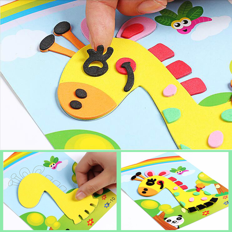 3D EVA Foam Sticker Puzzle Game DIY Cartoon Animal Learning Education Toys For Children Kids Multi-patterns Styles Random Send
