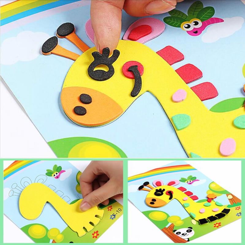 3D EVA Foam Sticker Puzzle Game DIY Cartoon Animal Learning Education Toys For Children Kids Multi-patterns Styles Random Send