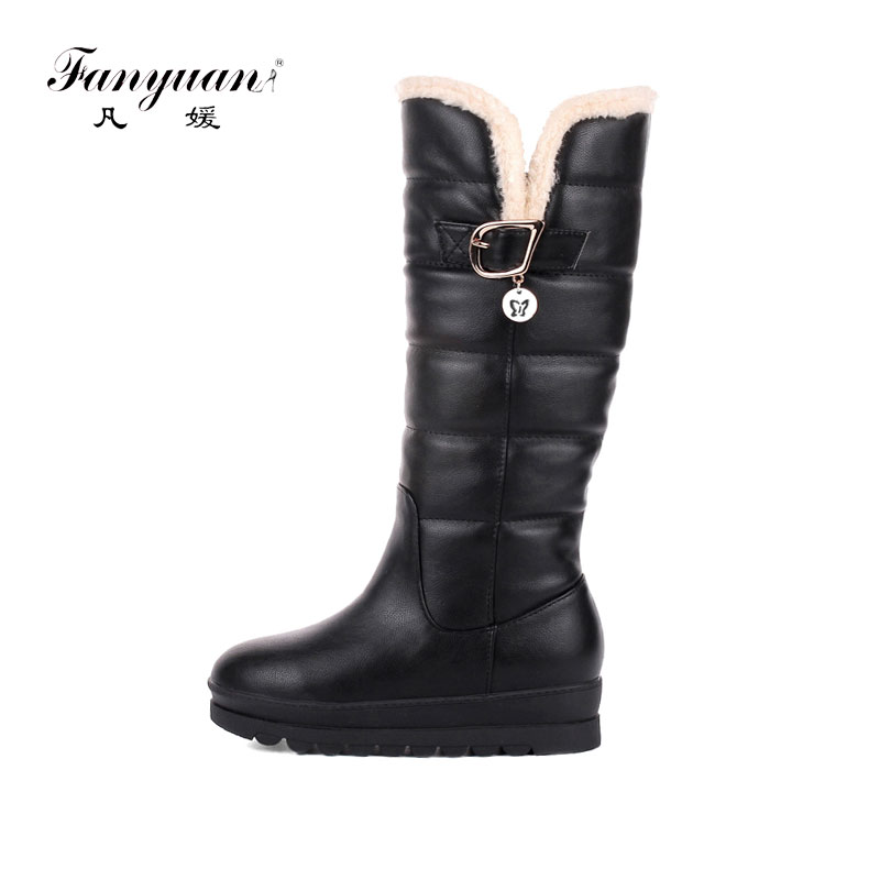 Fanyuan Women Boots Winter Plush Snow Boots Ladies Warm Knee High Boots Mental Buckle Platform Boots botas mujer Black White Red platform bowkont flocking snow boots
