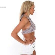 Sexy Women Crochet Crop Tops Summer Beachwear Hollow Out Bikini Bra Strap Tank Vest Tops High-Neck Halter Camis Camisole 41