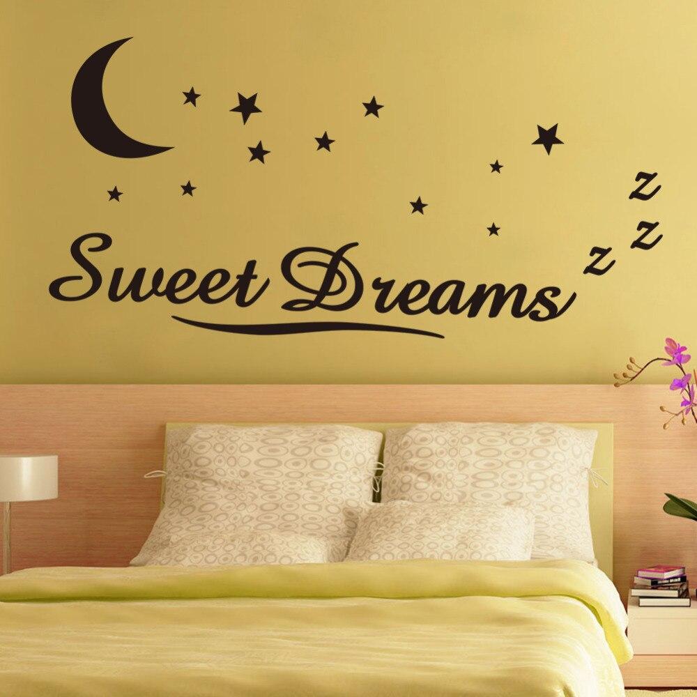 sweet dreams moon and stars headboard for bedroom wall art decals ...