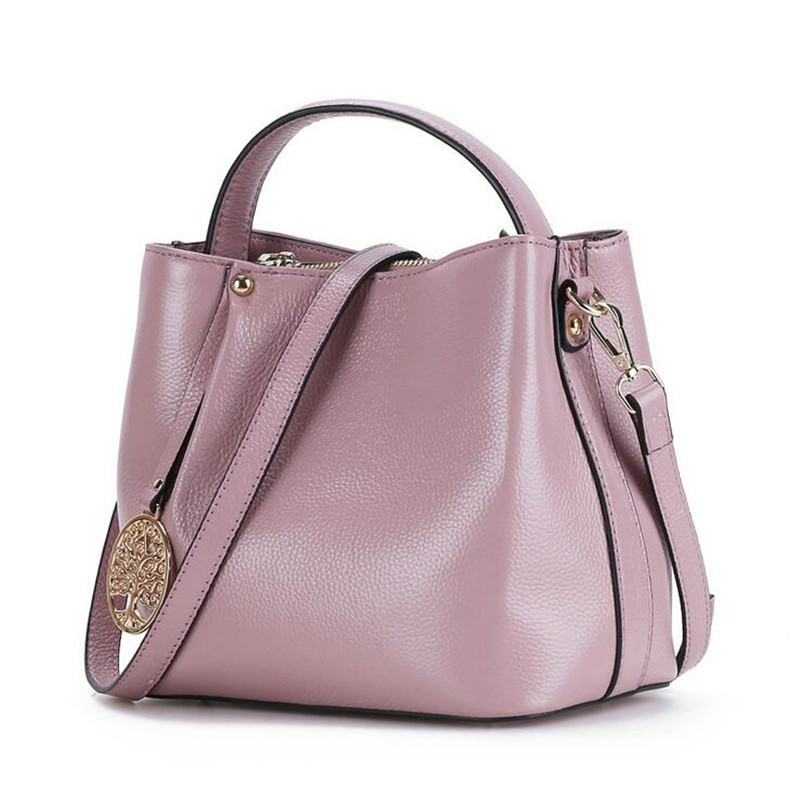 2016 New Women Handbag Genuine Leather Shoulder Bag Cowhide Ladies Casual Shopping Bag Large Capacity Tote Bucket Messenger Bag 2018 new women bag ladies shoulder bag high quality pu leather ladies handbag large capacity tote big female shopping bag ll491