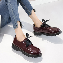 Round Toes Flats Brand Oxfords Women Bow-knot Cute Autumn Shoes 2019 New Slip On Leather Boat Lady