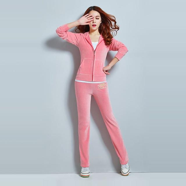 Hot Selling Velvet Sweat Suits Women Leisure Sportswear Hoodies Tops and Sweat Pants Set 2