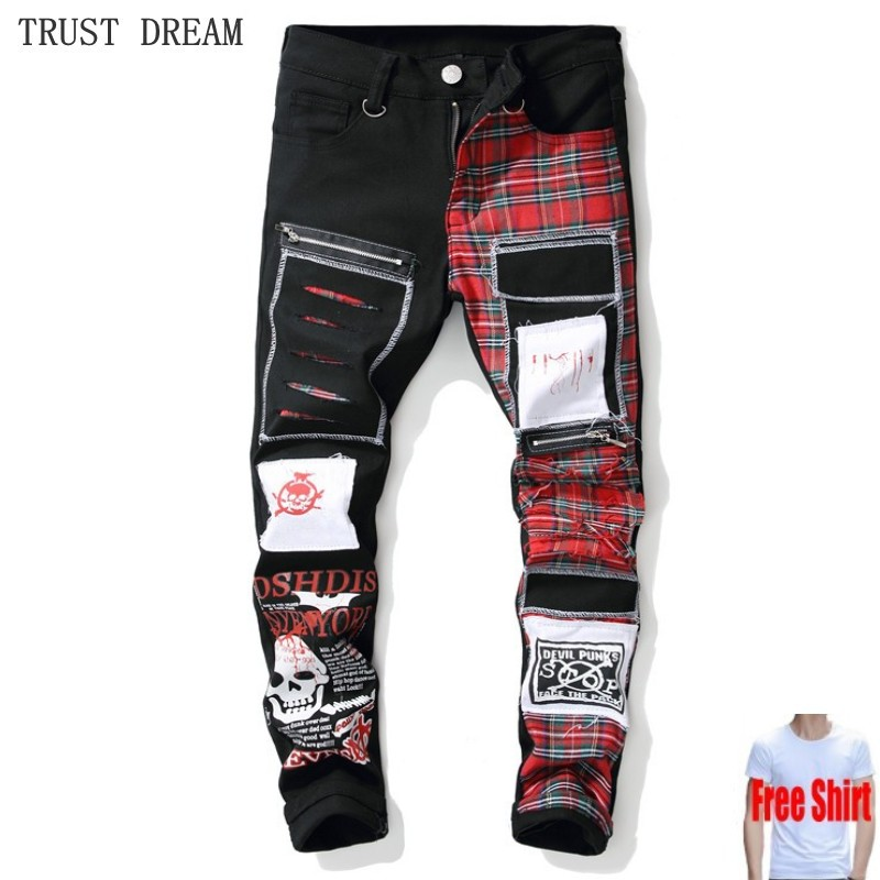 Free Gift Man Skull Printed Scottish Plaid Patchwork Jeans Men Trendy Patches Black Ripped Distressed Denim Pants Plus Size