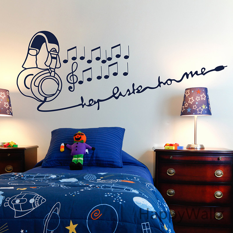 Baby Nursery Wall Sticker Music Wall Decal Baby Nursery Earphone Wall Sticker Kids Room DIY Easy Wall Decal Children Decors N6