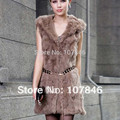 Lady Fashion Genuine Nature Rabbit Fur Waistcoat with Hoody Women Fur Vest Female Gilet VK0024
