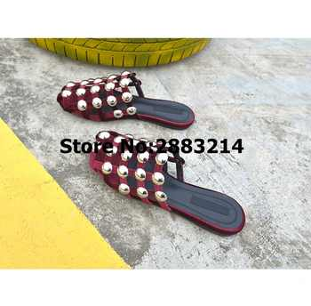Round Toe Caged Flats Cuts-Out Women Slippers Flats Amelia Rivets Pom pom Studded Sandals Lady Slides Shoes Mujer Slides 43 44