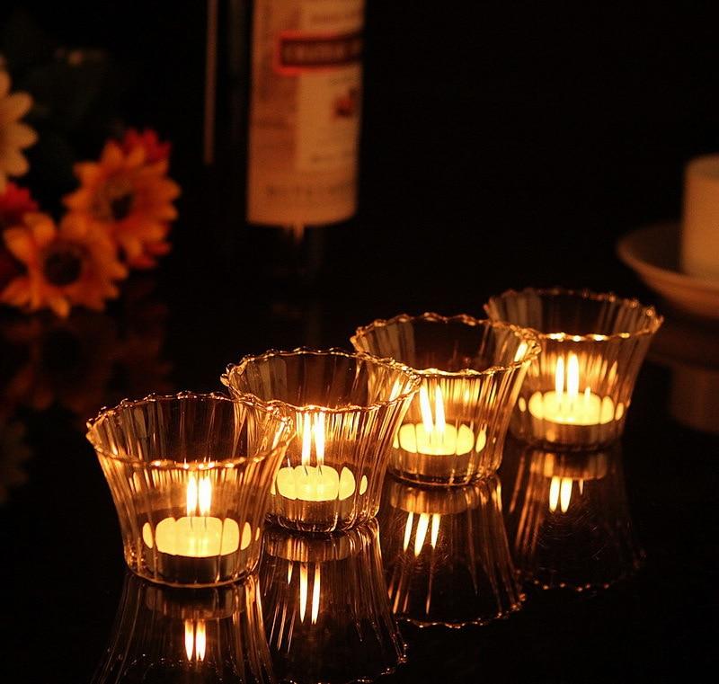24 x clear glass fluted tealight holder wedding centerpieces Festival Dinner light Candlestick Xmas Valentine Gift Crafts