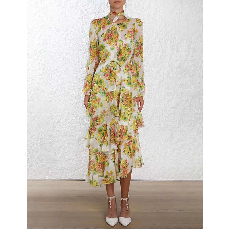 d952e93c105b4 High Quality Fashion Summer NEW Design Tiered Ruffle Irregular Floral Print  Pure Silk Party Dresses Long Sleeve Yellow Dresses