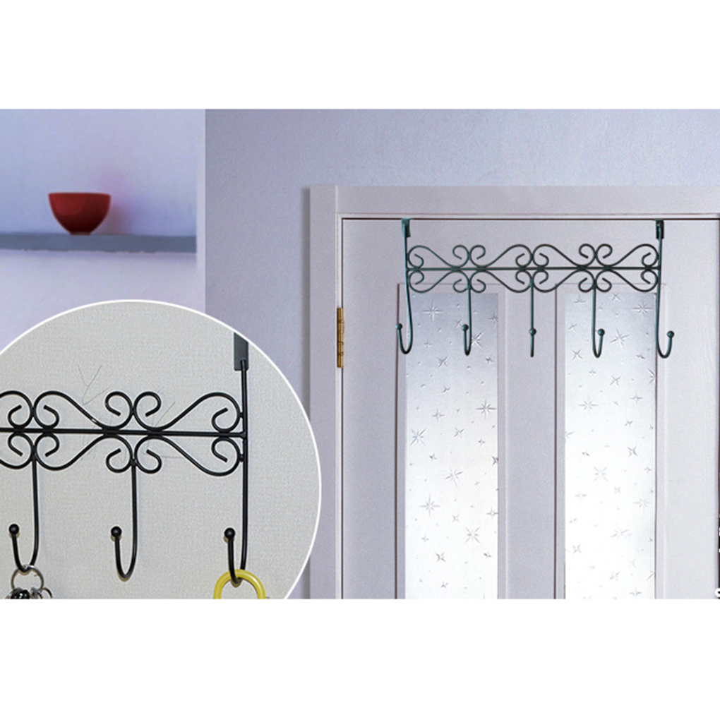 Five Hooks Towel Clothes Hat Bag Over Door Bathroom Hanger Hanging Coat