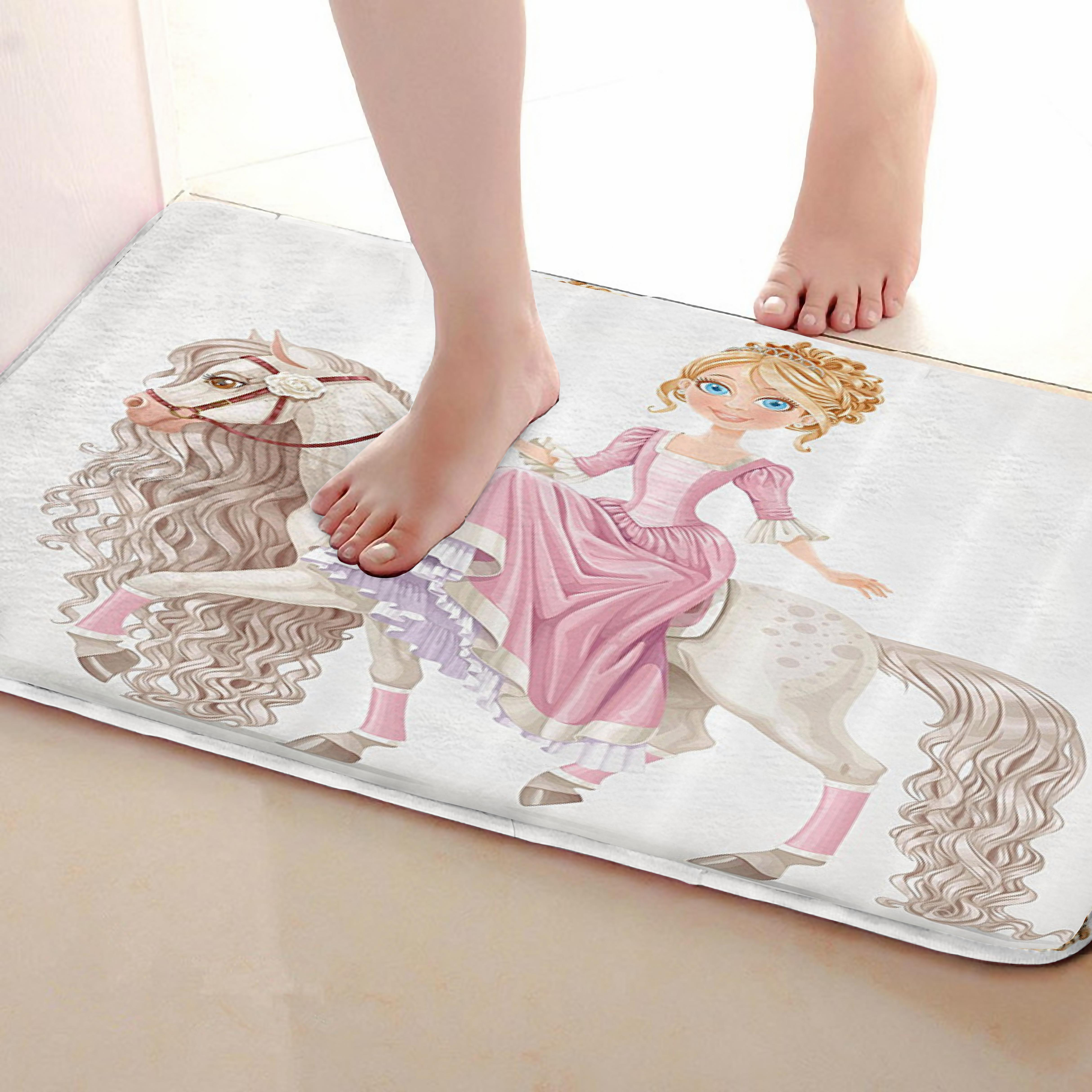 Princess Style Bathroom Mat,Funny Anti Skid Bath Mat,Shower Curtains Accessories,Matching Your Shower Curtain