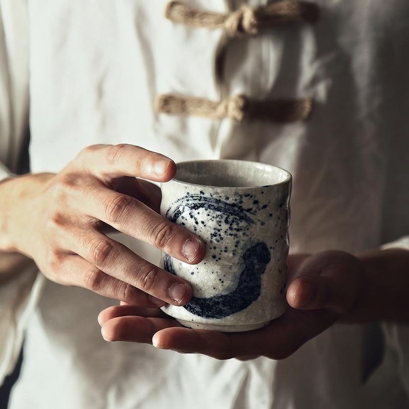 NIMITIME Japanese Style Teacup Water Cup Stoneware Ceramic Hand-painted Kungfu Teacup Cuisine Drinkware