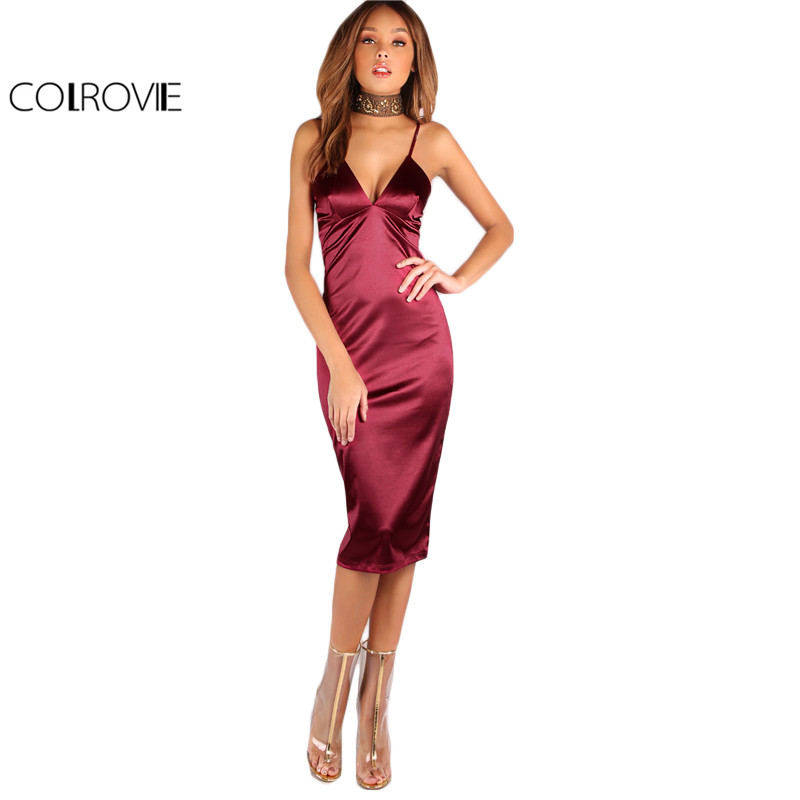 Aliexpress.com : Buy COLROVIE Burgundy Satin Party Club Dress 2017 ...