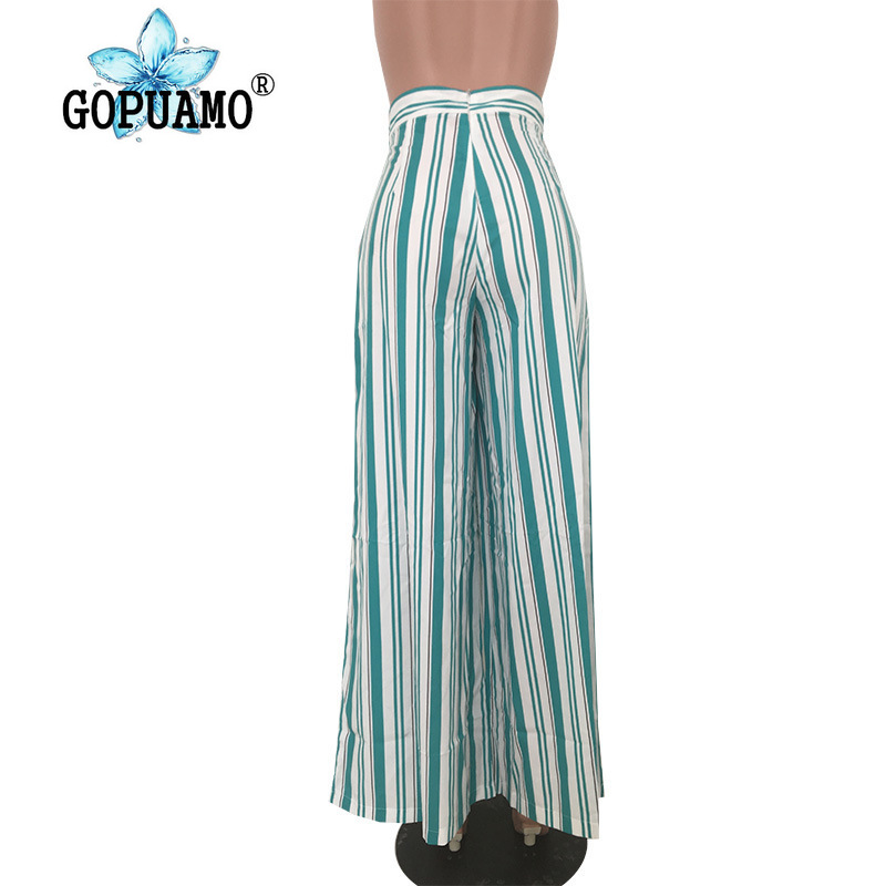 Green White Vertical Striped Long Pant Women Fashion High Waist Loose Wide Leg Trouser Casual Ladies Full Length Boot Cut Pant