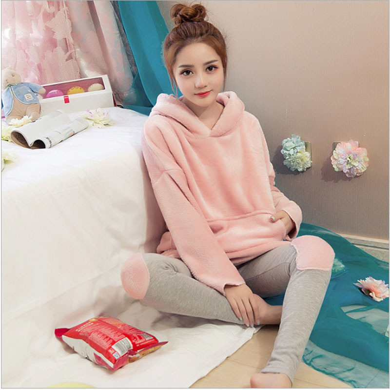 Korean Version Of The Pajamas Female Winter Warm Coral Velvet Long Sleeve Thickening Flannel Hooded Warm Home Pyjamas Set