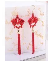 Femme De Mariée fille Rétro noble Coréenne Boucle D'oreille rouge cheongsam robe de mariage mariée Boucles D'oreilles Bijoux bijoux accessoires