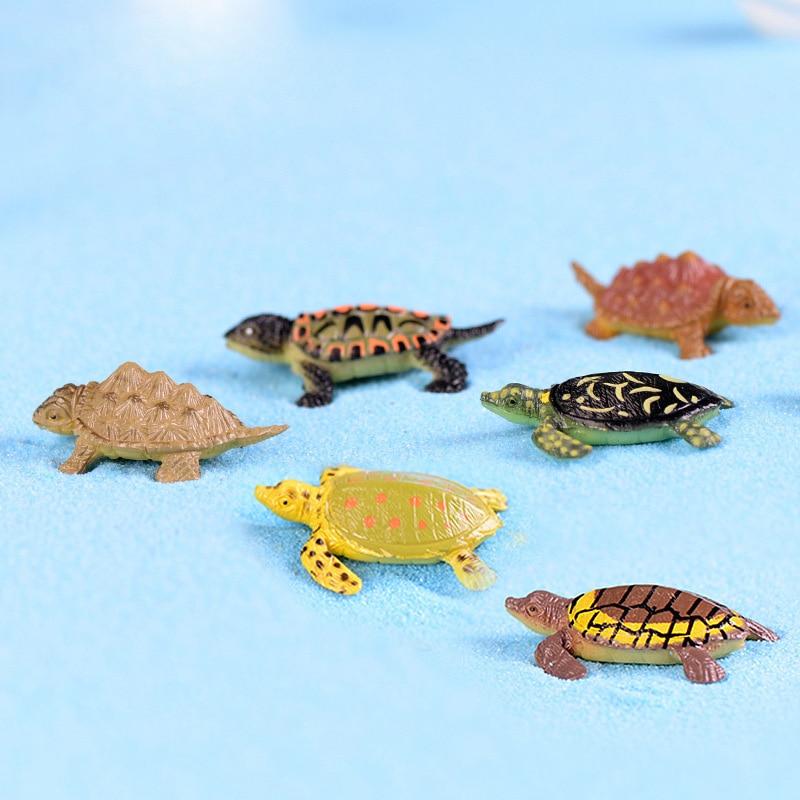 12pcs Colorful Cute Mini Turtle Figurine Home Decor Miniature Fairy Garden Decoration Accessories Cartoon Animal Model Figures In Figurines Miniatures