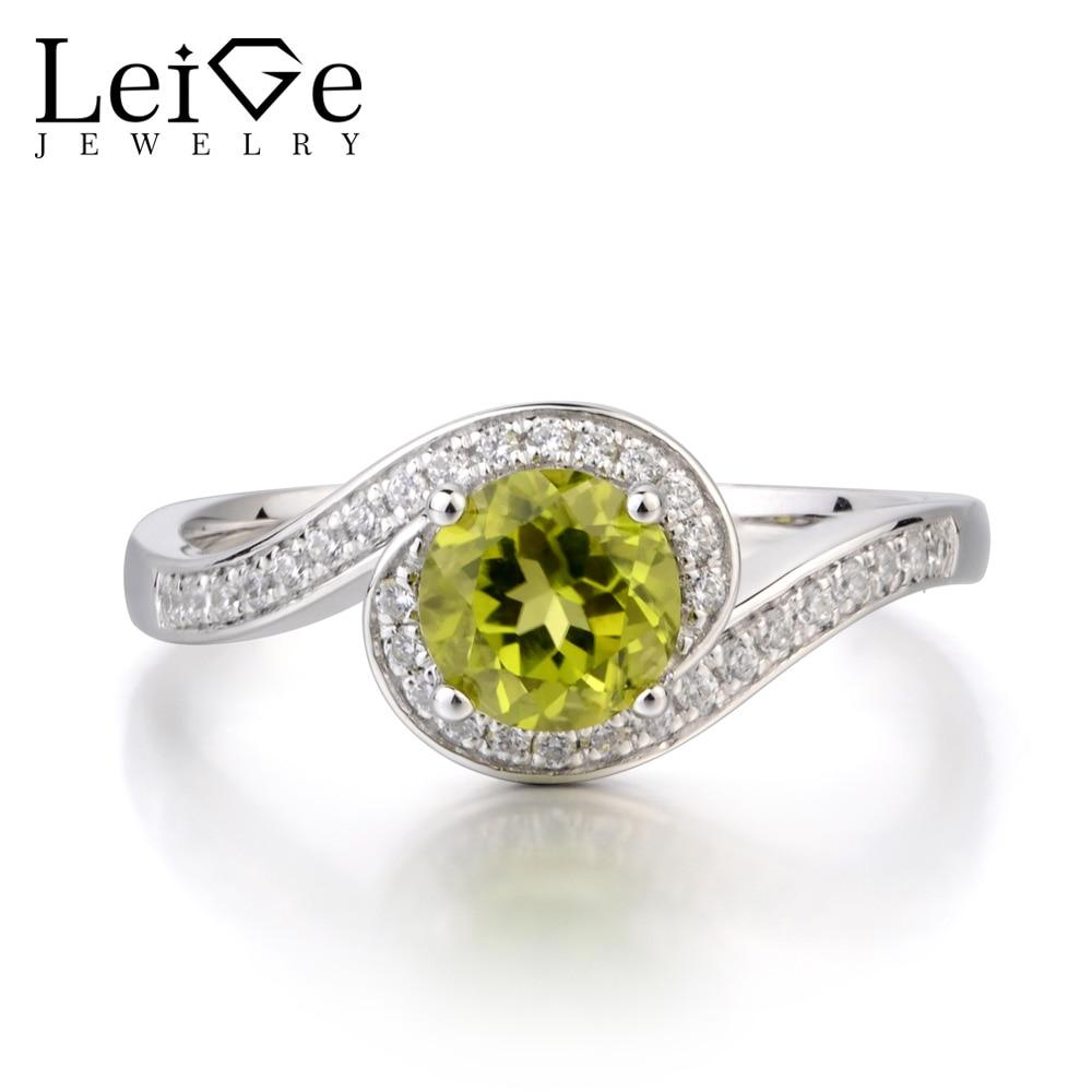 купить Leige Jewelry Natural Peridot Ring Engagement Ring August Birthstone Round Cut Green Gemstone 925 Sterling Silver Ring Gifts по цене 6731.75 рублей