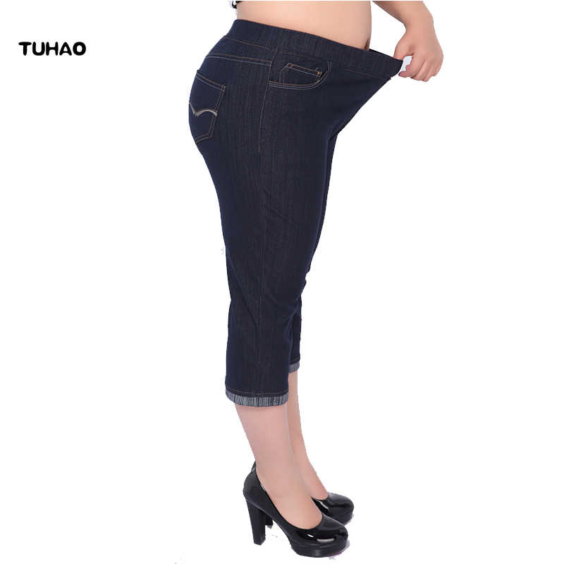 69afd9f803894 TUHAO Female office jeans Plus size 4XL 3XL 5XL Denim Pants For Women 2018 Summer  Large