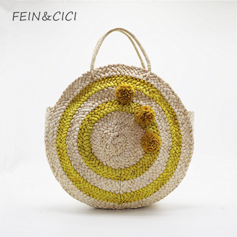 beach bag round straw totes bag large big summer straw bags tassels pom pom women natural handbag 2018 yellow striped circular straw clutch bag with pom pom