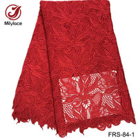Kırmızı El Yapımı Gipür dantel kumaş 5 yards Nakış tığ dantel kumaş Nijeryalı gelin elbise FRS-84 için polyester toptan