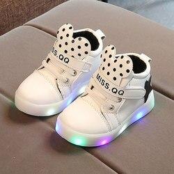 Children's luminous shoes white soft bottom girls sneakers led luminous kids shoes winter non-slip waterproof toddler girl shoes