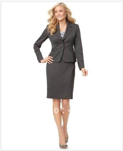 Women Dress Custom Suit Grey Women Suit Long Sleeve Notched Collar ...