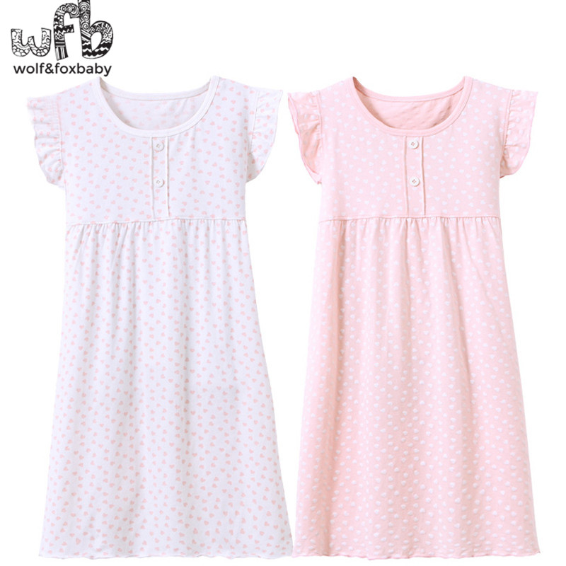 Retail 3-14 Years Cotton Children's Home Wear Nightdress Girl Baby Pajamas Autumn Fall Summer