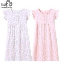 Розничная продажа, Детская домашняя одежда из хлопка для детей от 3 до 14 лет ночная рубашка, пижамы для маленьких девочек осень-лето