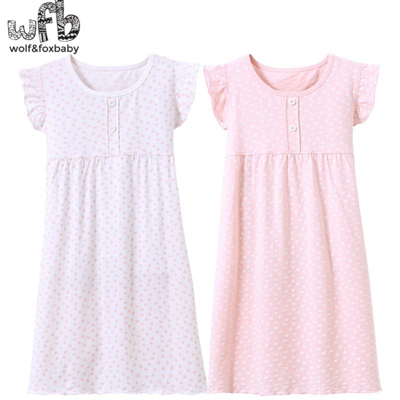 Retail 3-14 Years Cotton Children's Home Wear Nightdress Girl Baby Pajamas Autumn Fall Summer