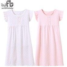 Camisola infantil de algodão, varejo com 3-14 anos, roupa noturna para crianças, menina, pijamas de bebê, outono, verão