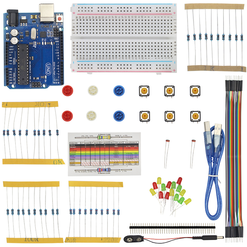 Modest Starter Kit For Breadboard Usb Cable Led Ldr Resistance 40 Pin Header Battery Dupont Cables Holder For Uno R3 Demo Board & Accessories Computer & Office