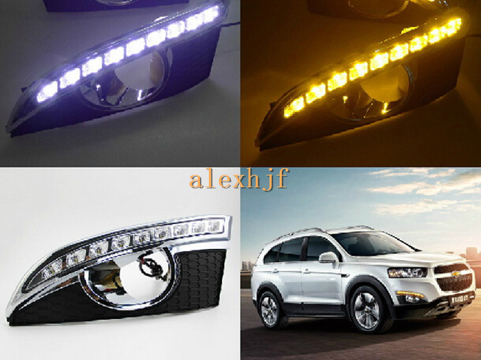 July King LED Daytime Running Lights LED DRL With Yellow Turn Signals Case for Chevrolet Captiva SUV 2011~13 1:1 Replarcement drl for chevrolet captiva 2013 2016 daytime running lights double color led day driving light with lamp door free shipping
