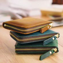 Genuine Leather Credit ID Card Holder Vintage Fashion Coin Purse Small Wallet Clutch Zipper Clamp For Money