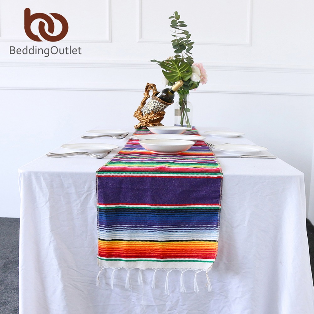Admirable Us 6 9 30 Off Beddingoutlet Mexican Serape Blanket Colorful Striped Tablecloth Mexico Decor Table Runner Cotton Table Cover For Party 35X213Cm In Download Free Architecture Designs Intelgarnamadebymaigaardcom