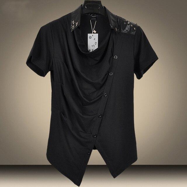 7052a1b33 2016 New Rivet Piles Collar Hip Hop T Shirt Slim Men Tee Shirts Casual  Korean Style Tshirt Fashion Brand T Shirt Men wholesales