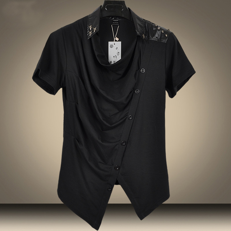 2016 Nouveau Rivet Piles Collier Hip Hop T Shirt Slim Hommes Shirts Casual De Style Coren Marque Mode En Gros