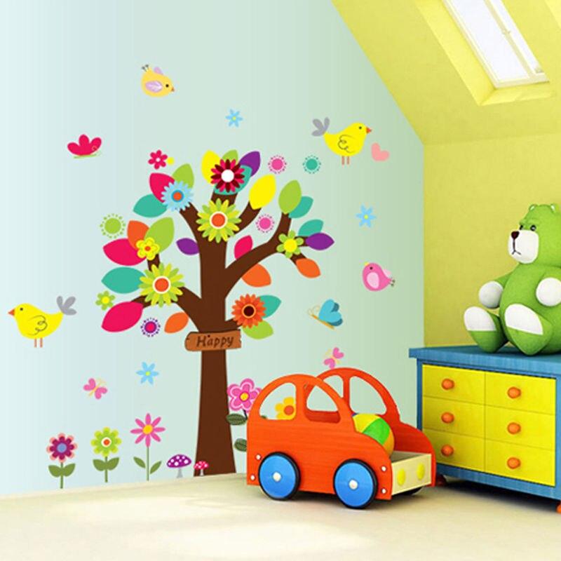 Diy Colorful Rooms: DIY Colorful Tree Wall Stickers Kids Nursery Room Vinyl