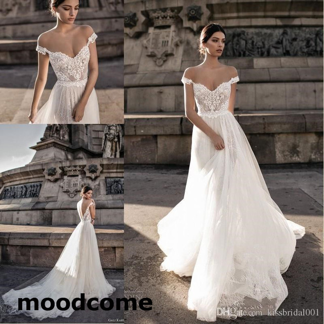 22676e83d1f Bridal 2018 Bohemian Wedding Dresses Illusion Off the Shoulder Lace Tulle  Sweep Train Backless Cheap Summer Bridal Gowns