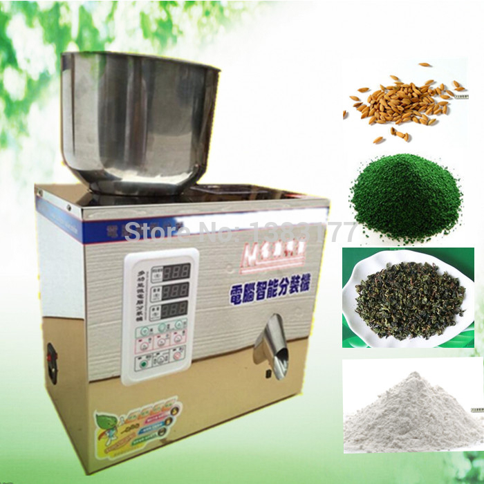 New type 1-25G tea weighing machine,grain,medicine,seed,salt packing machine,powder filler 2 100g new model tea food grain powder packaging machine