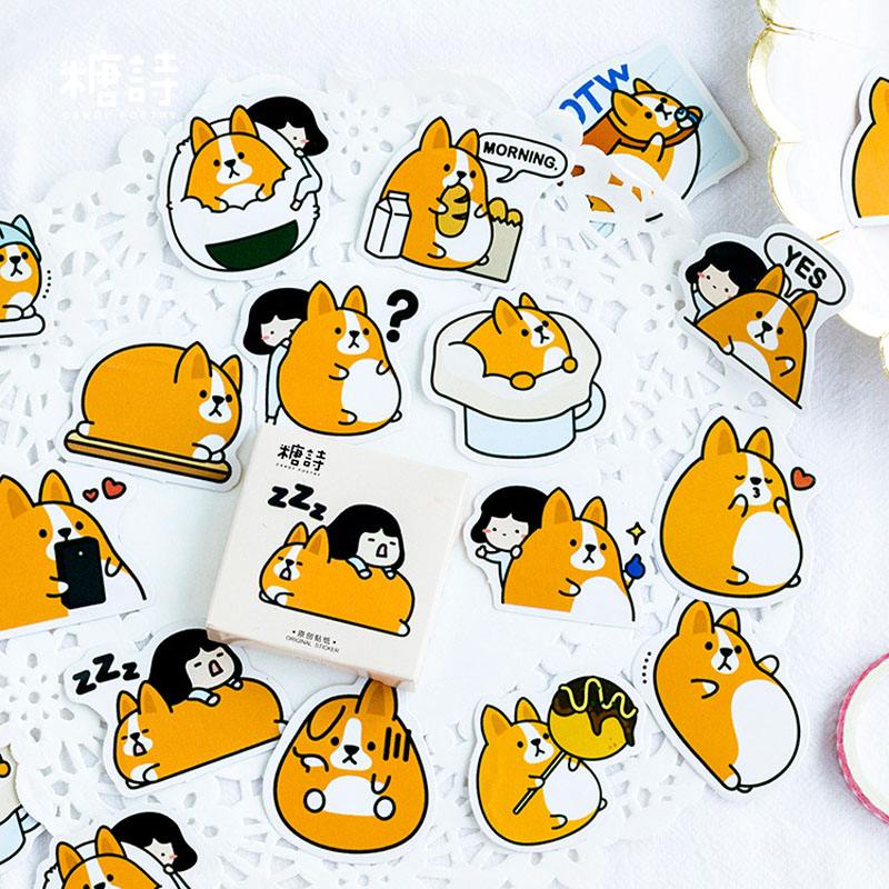 45pcs/lot Kawaii Chunky dog Corgi Decorative Washi Stickers Scrapbooking Stick Label Diary Stationery Album Stickers TZ19045pcs/lot Kawaii Chunky dog Corgi Decorative Washi Stickers Scrapbooking Stick Label Diary Stationery Album Stickers TZ190